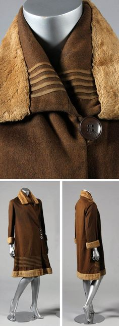 Coat ca. 1925-28. Brown wool trimmed with tan plush. Kerry Taylor Auctions/Live Auctioneers