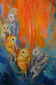 Art oil painting of barn Owls in vibrant fall by Scout Cuomo