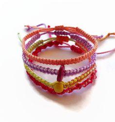 Set of 4 macrame pipe friendship bracelets by LittleFlowerbyGloria