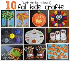 """I HEART CRAFTY THINGS: 10 """"not to be missed"""" Fall Kids Crafts"""