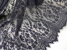 Black Lace Fabric Romantic Floral Scalloped Fabric Elegant