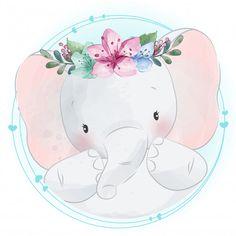 Lindo erizo usar corona de flores sentado en un anillo de flores Cute Baby Elephant, Little Elephant, Cute Drawings, Animal Drawings, Cute Images, Cute Pictures, Baby Animals, Cute Animals, Cute Animal Illustration