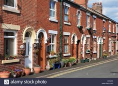 Stock Photo - Row of terraced houses in York Street with flower pots, Leek, Staffordshire, England UK Kerb Appeal, Micro Apartment, Terraced House, York Street, Village Houses, England Uk, Genealogy, Flower Pots