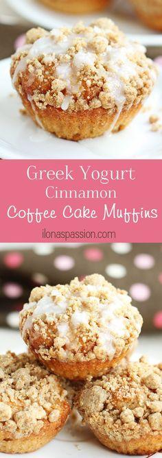 Greek Yogurt Cinnamon Coffee Cake Muffins - Healthier coffee cake muffins recipe made with greek yogurt, cinnamon and brown sugar crumble topping. Delicious coffee cake muffins are great for breakfast! by http://ilonaspassion.com /ilonaspassion/