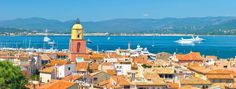 Beautiful view of <b>Saint-Tropez</b>, France with seascape and blue sky