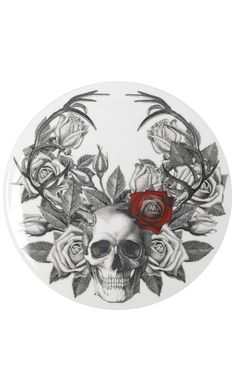 Skull + Roses Plate- i would feel really weird eating off one of these but it would look sweet on the wall
