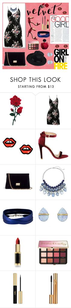 """Crushing on Velvet X Tiara MJH"" by tiaramiftahuljannah ❤ liked on Polyvore featuring George J. Love, Rodo, She.Rise, Melissa Joy Manning, L'Oréal Paris, Sephora Collection and Yves Saint Laurent"