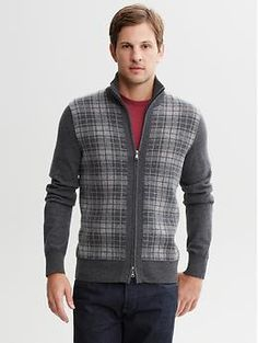 Plaid zip sweater   Banana Republic