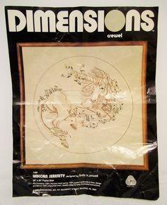 Unicorn Serenity Fantasy Crewel Embroidery Kit VTG Dimensions 1169 Myth Started  #Dimensions