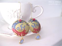 India - FREE SHIPPING - gorgeous #earrings #embossed #patinated #brass elements 16 kt #gold pastel delicate #glass #beads #crystal #pendants blue red #handmade