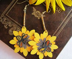Ephemeral Earrings: Sunflower and Bumblebee by TheRaisinFairy