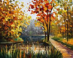 Fall Leaf Painting River Wall Decor On Canvas By Leonid