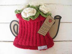 ❥Knit & Crochet Tea Cosies, Mug Hug Snugs and Cuppa Cosies.   Wonky Spout Flower Top Tea Cosy