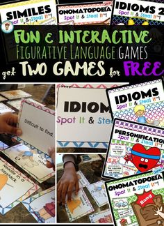 $ This Figurative Language Games Bundle includes personification, similes, onomatopoeia, and idioms. Get TWO games for FREE in this bundle 6th Grade Ela, 5th Grade Reading, Middle School Reading, Third Grade, Fourth Grade, Sixth Grade, Reading Lessons, Teaching Reading, Creative Teaching