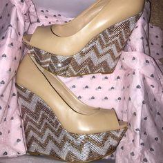 Bebe wedge heels. Bebe wedge heels. Tan, metallic w/ whites & golds. Worn once bebe Shoes Wedges