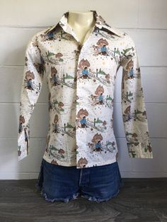 395509b07 Levis Panatela Tops Shirt Vtg 70s All Over Button Down 50 50 Hippy NWT Usa M