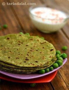 Parathas are sustaining and wholesome. Puréed green peas are combined with whole wheat flour to make this delicious paratha dough. Both whole wheat flour and green peas are rich in fibre which aids in controlling the blood sugar levels. Each paratha being cooked in ¼ teaspoon of oil is absolutely healthy for diabetics, as well as the whole family.   These parathas taste best when they are served as soon as they are prepared.