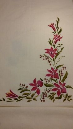 Flowers Painting Pattern One Stroke 53 Ideas Saree Painting Designs, Glass Painting Designs, Fabric Paint Designs, Painting Patterns, Fabric Colour Painting, Fabric Drawing, Dress Painting, Painting Flowers, Hand Painted Dress