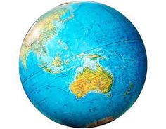 Great globe of the world with continent of Asia and Australia