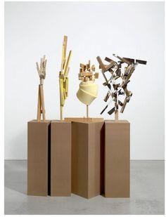 "GEORG HEROLD ""Literarisches Quartett"" 1.- sculpture: 90 x 64 x 30 cm 2.- sculpture: 113 x 25 x 25 cm 3.- sculpture: 89 x 25 x 26 cm 4.- sculpture: 80 x 46 x 33 cm 4 bases, each one: 120 x 40 x 40 cm, 2009 Wool laths, screws, glue, acrylic"