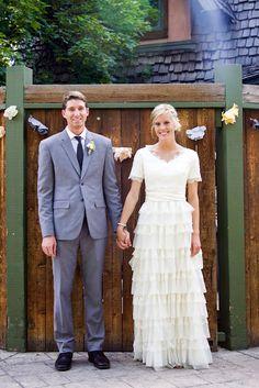 love the dress... such a cute, casual backyard wedding too!