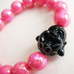 #Pink and #Black Stretch #Bracelet  Bubblegum #Buddha by #pulpsushi