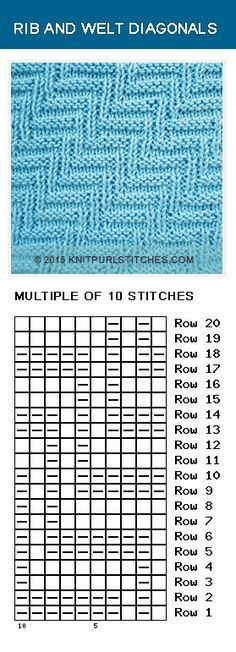 Combination of knit & purl stitches. Rib and Welt Diagonals - Pattern 1.I Included written instructions, chart and PDF file