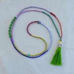 #tribal #boho #bead #tassel #necklace #summer #color