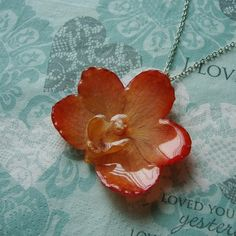 REAL Orchid Flower Pendant - Golden Amber Orange Orchid Necklace - Silver Chain