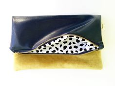 Navy and Vintage Gold Fold Over Clutch by NellieAndPhoebs on Etsy