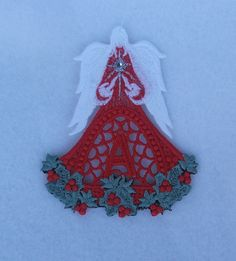 Christmas Angel with Holly Letter Apha by DebsCustomCreations, $7.99
