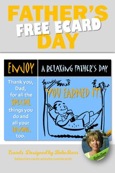 Enjoy a relaxing Father's Day, you earned it! Tell Dad with a special ecard for Father's Day. They are free to send and fun to receive. | Ecard | Father's Day | bebestarrcards.wixsite.com/ecards Fathers Day Ecards, Thank You Dad, Free Day, My Father, Dads, Fun, Fathers, Hilarious