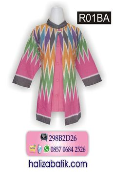 Blus batik rangrang kombinasi polos R01BA Rp 115.000,- Cocok untuk seragam batik kantor, Model lengan 7/8 berkerah sanghai. Pemesanan via SMS 085706842526
