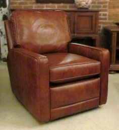 Bradington-Young Laconica Swivel Glider Recliner - pickndecor/home Glider Recliner Chair, Swivel Glider, Swivel Chair, Armchair, Brown Leather Recliner Chair, Leather Chairs, Leather Furniture, Chairs For Rent, Home Office Chairs