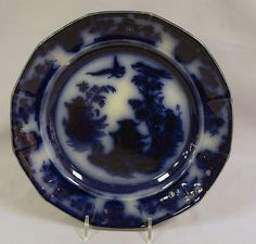Antique Flow Blue Oriental Plate Chusan Ironstone by Clementson #Clementson