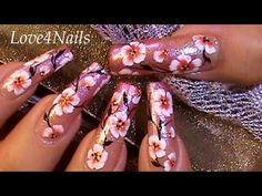 Cherry Blossom Nail Art Tutorial - YouTube
