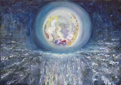 Void.  Oil on Canvas.  The universe is full of energy of the vacuum. It is flowing everywhere like the water in the ocean. From the dark depths, stars are born.  Keywords: pearl, luminance, planet, shining, space, sphere, void, sparkles, electricity, energy, atomic, ocean