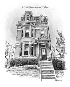 Pen & Ink House Sketch - Artwork created from your photo - Great gift idea from GiveAmasterpiece.com