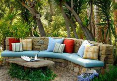 Stone garden bench by Grace Design Associates Inc., Santa Barbara, CA - Hidden Valley project. Stone seating area. Love the natural look.