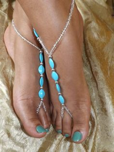 Barefoot sandals Blue Foot jewelry Anklet
