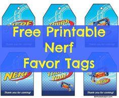 Free Printable Nerf favor Tags