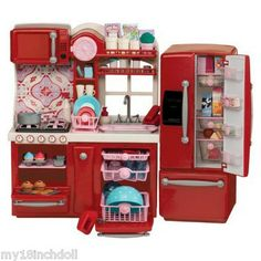 Red Kitchen Furniture Made to Fit 18 inch American Girl Doll 96 Piece Lot Set