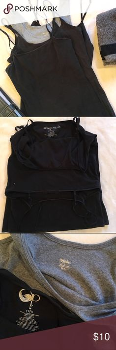 4 cami/ tank top  bundle 4 pre loved camisoles. All in good condition. No damage. 2 spaghetti straps with built in shelf bra. 1 is size M by Aeropostale. Other has no tag but is similar to the Aeropostale. 1 black spaghetti strap size M by OP. And 1 size M grey tank by Mossimo. Tops Tank Tops