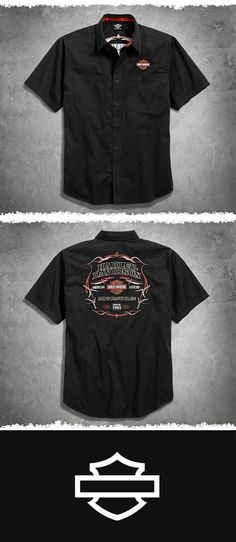 This shirt is polished enough for a workday and looks great with jeans, khakis, or cargoes.| Harley-Davidson Men's Black Pinstripe Flames Shirt