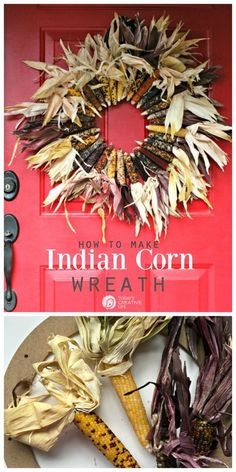 How to make an Indian Corn Wreath with a full tutorial. Rustic with corn husks and baby corn for easy DIY fall decor. Fall porch ideas with DIY projects. Fall & Autumn crafts. Diy Fall Wreath, Fall Wreaths, Fall Diy, Wreath Ideas, Deco Wreaths, Halloween Wreaths, Indian Corn Wreath, Corn Husk Wreath, Crafts For Teens To Make
