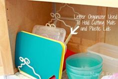 Letter Organizer to Hold Cutting Mats and Plastic Lids