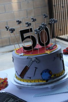 If you need birthday party ideas for men, check out this tool theme bash by Stacy Tucker of Sugar Crush Funny 50th Birthday Cakes, 50th Birthday Party Ideas For Men, Number Birthday Cakes, Birthday Cakes For Men, Adult Birthday Party, 50th Party, Women Birthday, Tool Party, Tool Cake