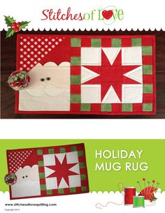 Santa Mug Rug Pattern By Sches Of Love Quilting Christmasquilt Christmasmugrug Craftsy