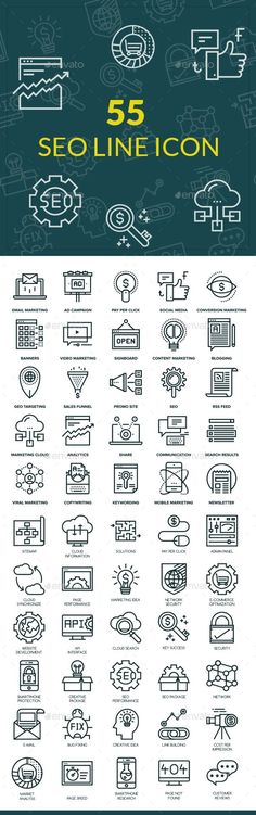 55 SEO Line Icons — Vector EPS #link building icon #digital marketing icon • Available here → https://graphicriver.net/item/55-seo-line-icons/16148937?ref=pxcr