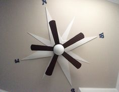 We did the nautical theme so my husband made a compass for the ceiling and then installed the ceiling fan. Nautical Baby Nursery, Sea Nursery, Nautical Colors, Nautical Theme, Nautical Ceiling Fan, Ceiling Fan Installation, Ceiling Fan Makeover, Baby Boy Rooms, Kids Rooms